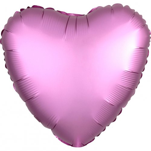 Ballon Coeur Satin Rose Flamingo (43 cm)