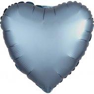 Ballon Coeur Satin Bleu Perle (43 cm)