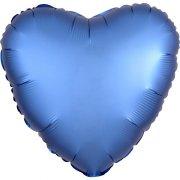 Ballon Coeur Satin Bleu Azur (43 cm)