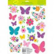 19 Déco de Fenêtre Fleurs et Papillons Glitter