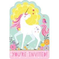 Contient : 1 x 8 Invitations Licorne Magique