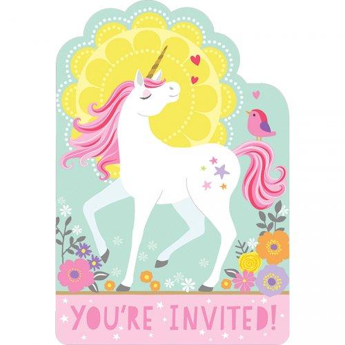 8 Invitations Licorne Magique