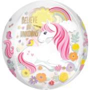 Ballon Orbz Gonflé à l'Hélium Licorne Magique