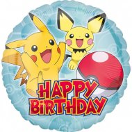 Ballon Gonflé à l'Hélium Pokémon Happy Birthday