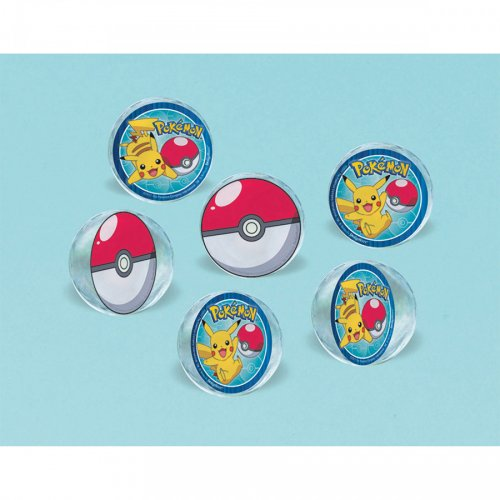 6 Balles Rebondissantes Pokémon Maxi (4 cm)