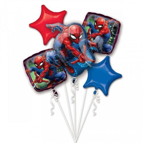 Bouquet de 5 Ballons Spiderman (43, 48 et 73 cm)