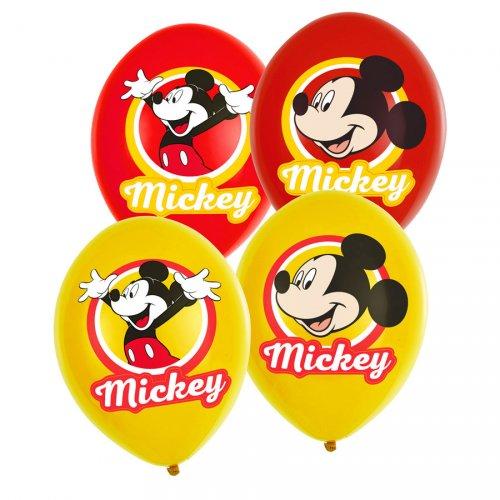 6 Ballons Mickey Rouge/Jaune