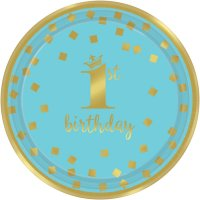 Contient : 1 x 8 Petites Assiettes Royal Birthday 1 - Bleu