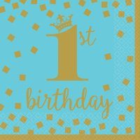 Contient : 1 x 16 Serviettes Royal Birthday 1 - Bleu