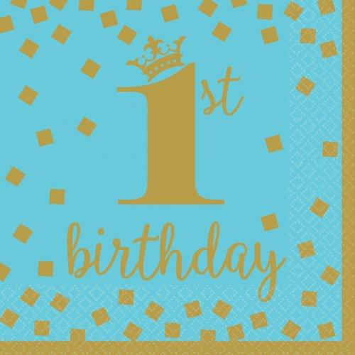 16 Serviettes Royal Birthday 1 - Bleu