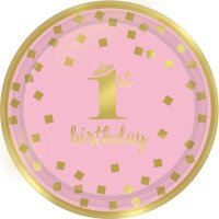 Contient : 1 x 8 Petites Assiettes Royal Birthday 1 - Rose