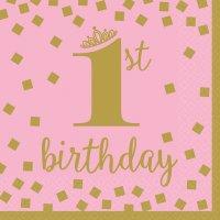 Contient : 1 x 16 Serviettes Royal Birthday 1 - Rose