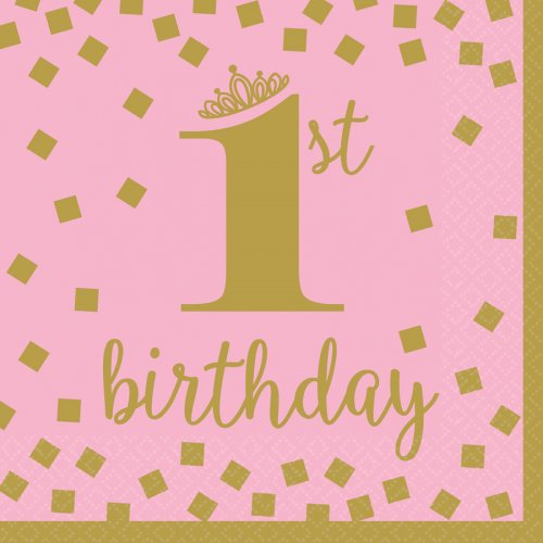 16 Serviettes Royal Birthday 1 - Rose