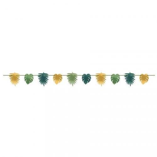 Guirlande Jungle Feuilles Tropicales (3,65 m) - Vert/Or