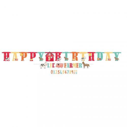 Double Guirlande Happy Birthday Ferme en Folie - Age Personnalisable