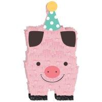 Contient : 1 x Mini Pinata Cochon (18 cm) - Ferme en Folie