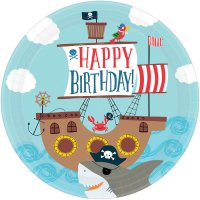 Contient : 1 x 8 Assiettes Pirate Birthday