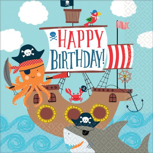 16 Serviettes Pirate Birthday