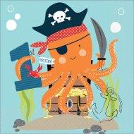 16 Serviettes Pirate Birthday - 1 An