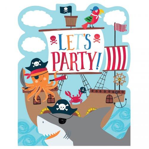 8 Invitations Pirate Birthday