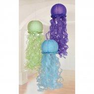 3 Lanternes Méduses (88 cm) Bleu/Vert/Violet