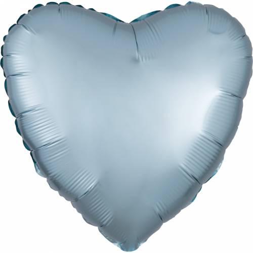 Ballon Coeur Bleu Pastel Métal (43 cm)
