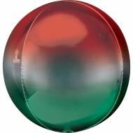 Ballon Orbz Gonflé à l'Hélium Ombré Vert/Rouge