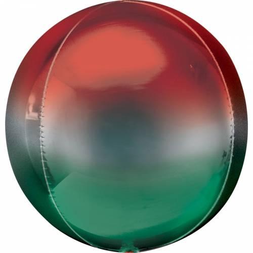 Ballon Orbz Gonflé à l Hélium Ombré Vert/Rouge
