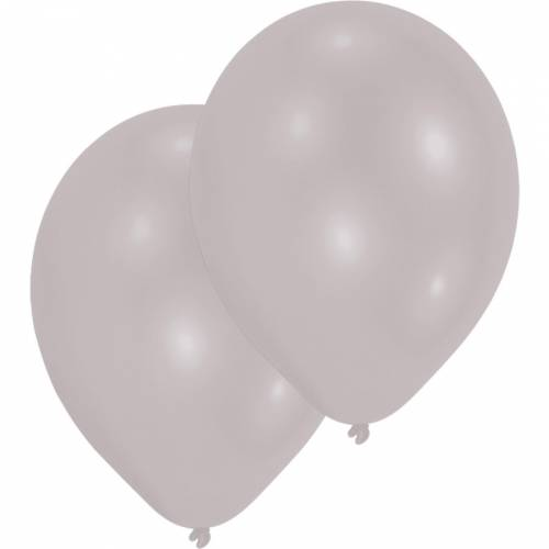 10 Ballons Argent Métalique