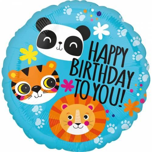 Ballon à Plat Joyeux Anniversaire Lion, Tigre, Panda