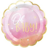 Contient : 1 x 8 Assiettes Oh Baby Girl !