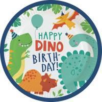 Contient : 1 x 8 Assiettes - Happy Dino Party