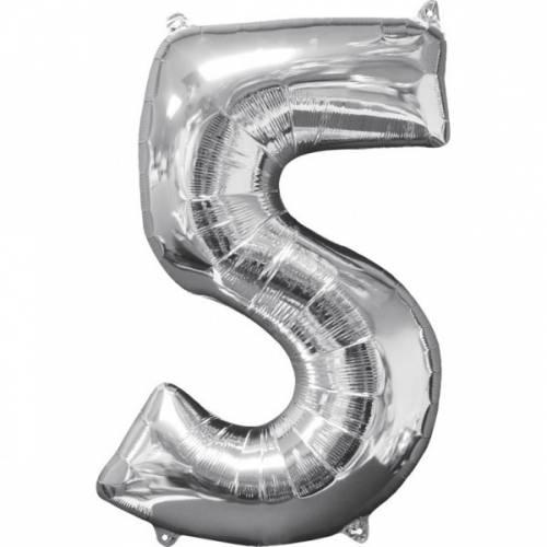 Ballon Géant Chiffre 5 Argent (66 cm)