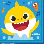 16 Serviettes Baby Shark Jaune