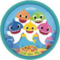 Contient : 1 x 8 Assiettes Baby Shark Jaune