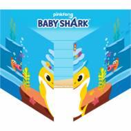 8 Invitations Baby Shark Jaune
