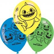 6 Ballons Baby Shark Jaune