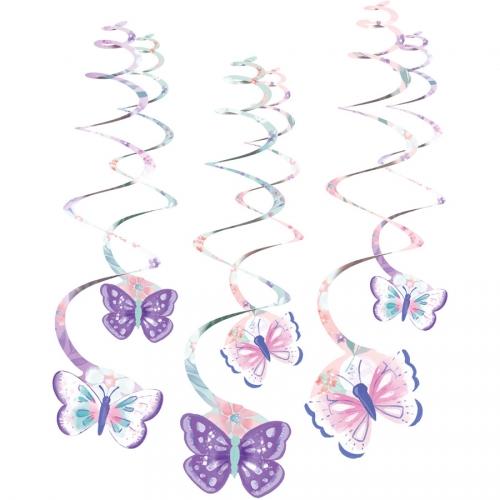 6 Guirlandes Spirales Papillon Vintage