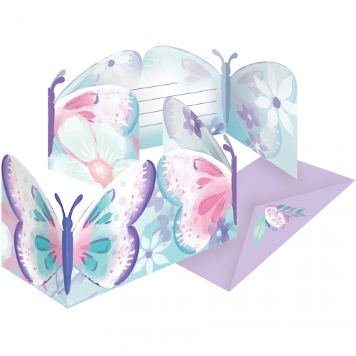 8 Invitations Papillon Vintage