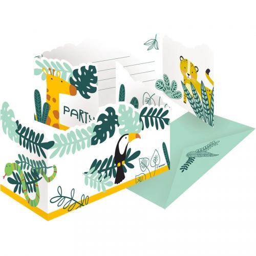 8 Invitations Animaux de la Jungle