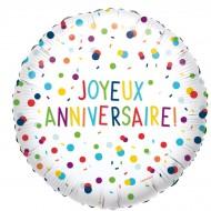 Ballon Hélium Joyeux Anniversaire - Ø43 cm