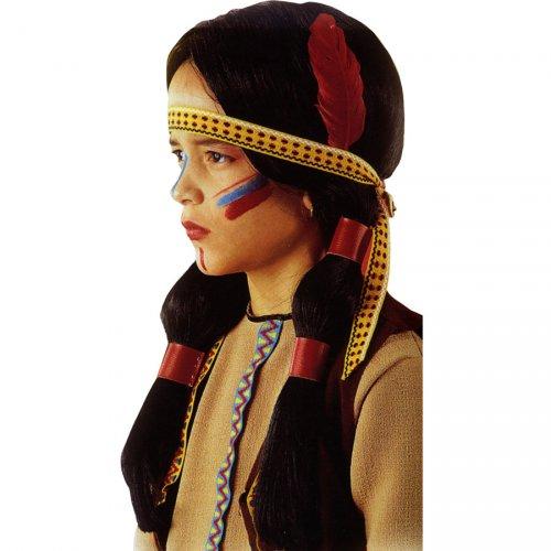 Perruque d Indienne avec bandeau et plume (Enfant)