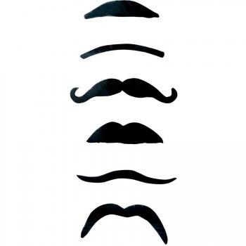 Set de 6 moustaches noires