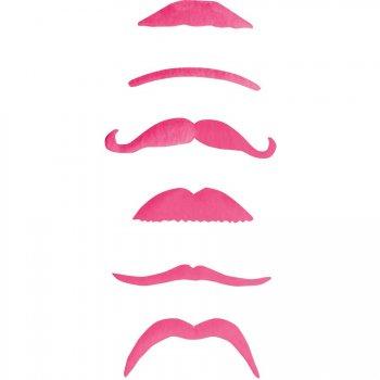 Set de 6 moustaches roses