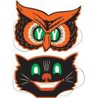 2 Masques Vintage Halloween Chat et Hibou
