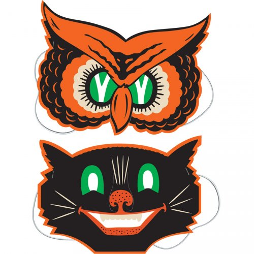 2 Masques Vintage Halloween Chat et Hibou
