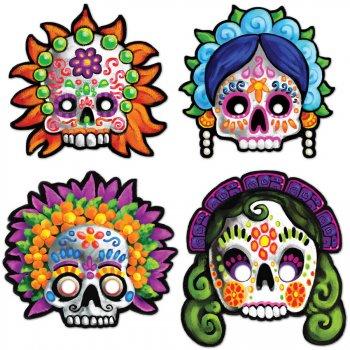 4 Masques Fête des Morts Mexicaine