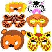 6 Masques Animaux de la Jungle en Mousse