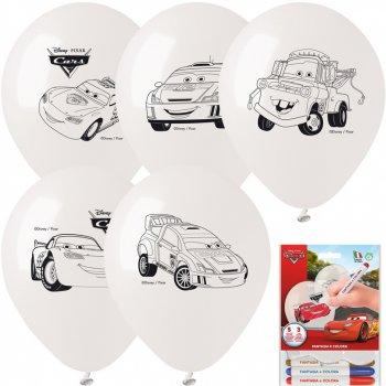Kit 5 Ballons à Colorier Cars + 3 Feutres