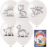 Kit 5 Ballons à Colorier Dinos + 3 Feutres